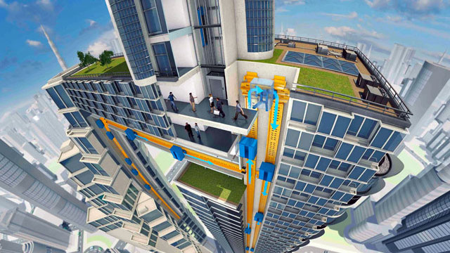 Ascenseur Multi : cabine sans câble pour se déplacer horizontalement et verticalement 1
