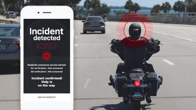 Cosmo Connected : feu-stop amovible connecté pour casque avec alerte des secours 1