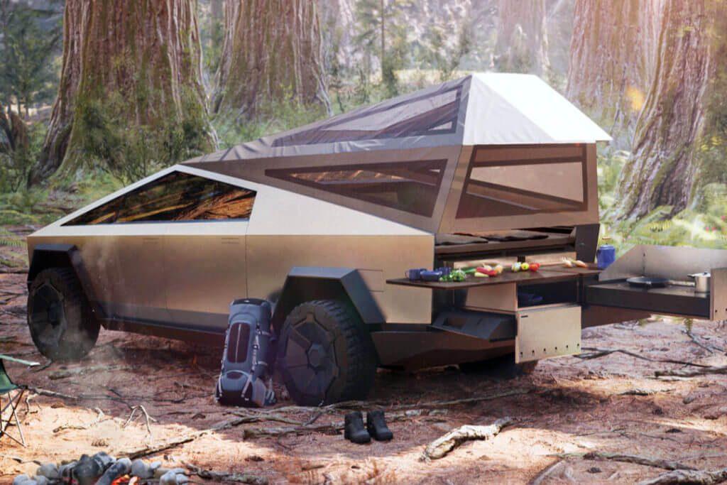 camping cybertruck tesla