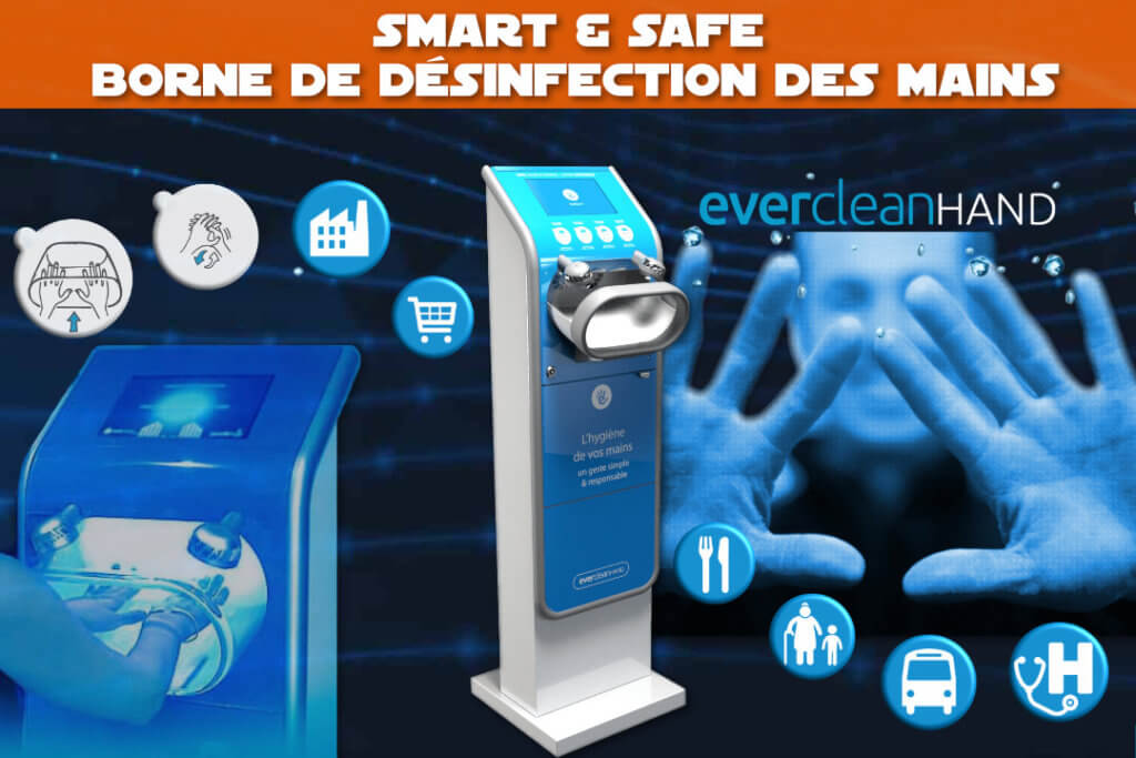 Borne de désinfection des mains - Smart & Safe - Coronavirus