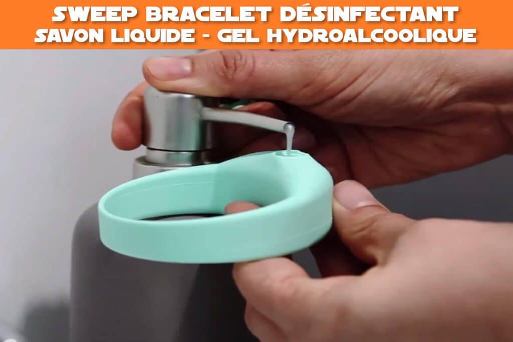 sweep bracelet desinfectant - savon liquide, gel hydroalcoolique